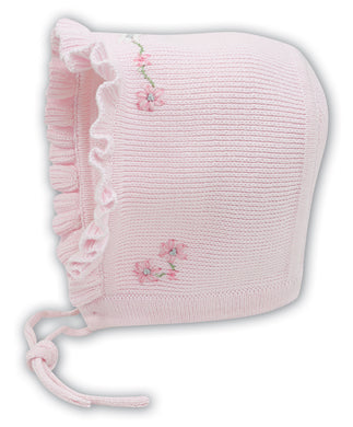 Baby Girls Embroided Detailed Trimmed Edge Bonnet