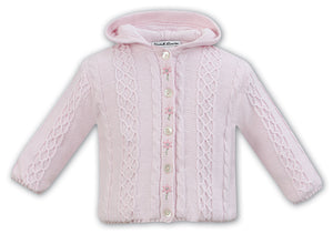 Girls Cable Knit Embroided Detail Hooded Jacket