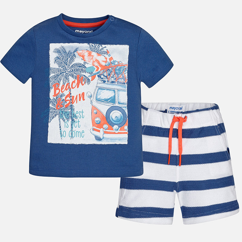 Boys Printed T-Shirt and Striped Shorts Set