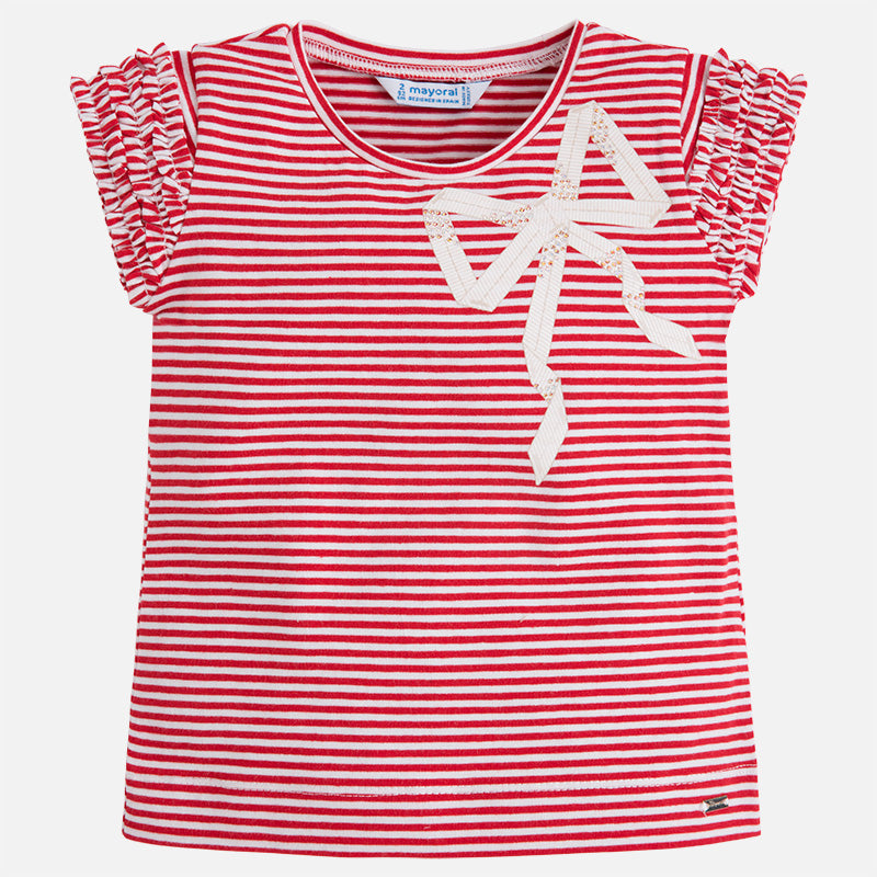 Striped T-Shirt With Ruffled Sleeves