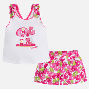 Fuchsia Printed Shorts Set