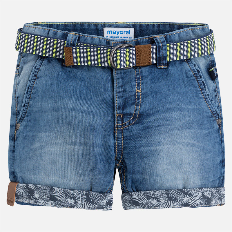 Denim Shorts With Belt