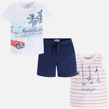 Shorts With 2 Printed Short Sleeved T-Shirts Set