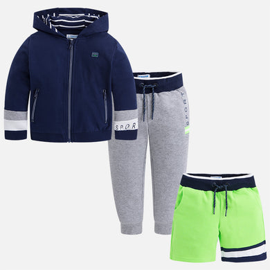 Tracksuit Set With Hoodie, Shorts & Trousers