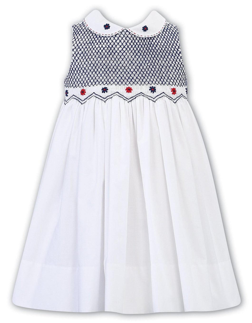 Girls Sleeveless Dress, Hand Smocking and Embroidered Bodice, Peter Pan Collar with Embroidered Detail.