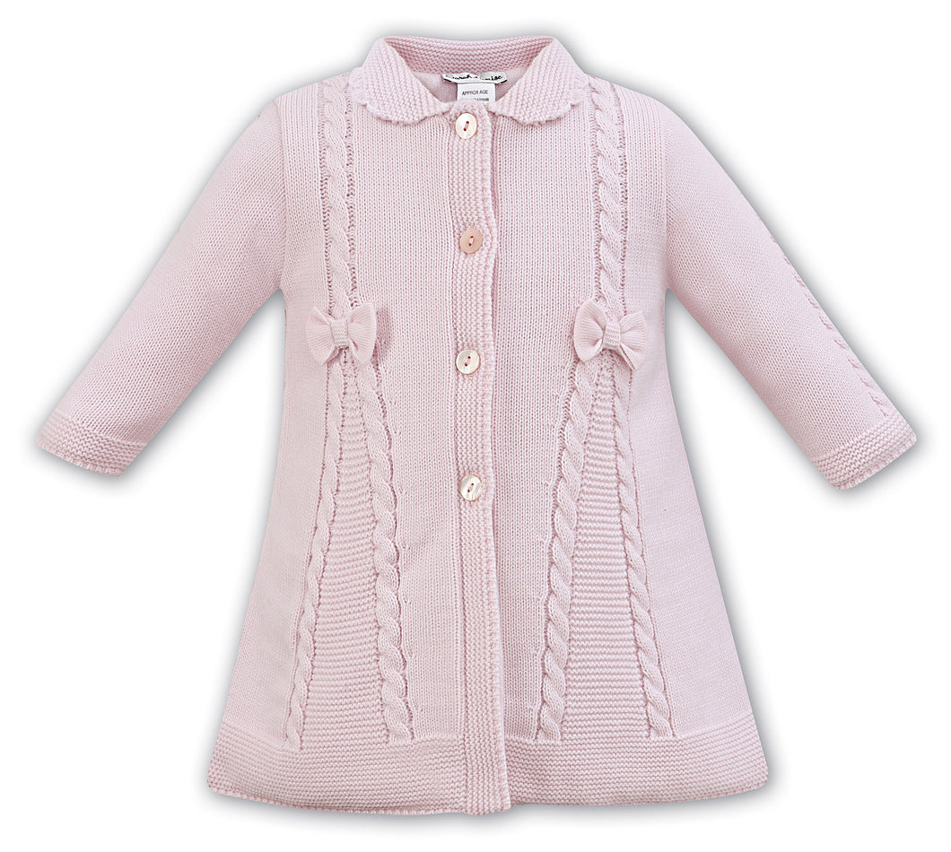 Baby Girls Cable and Bow Detailed Full Length Knitted Coat with Scalloped Edged Collar