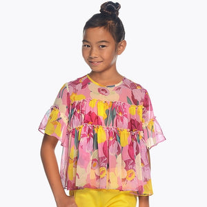 Girls Delicate Floral Print Chiffon Short Sleeved Blouse. Round Neck. Back Button Fastening.
