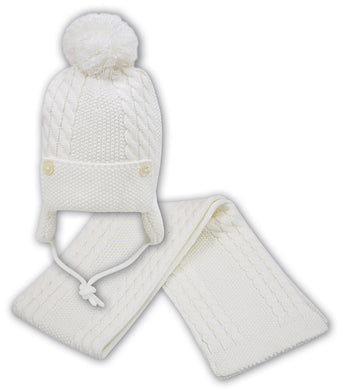 Baby Boys Chunky Cable Knit Pom Hat with Ear Protectors and under Chin Fastening. Button Detail on Front