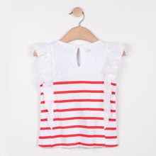 Frilled Detailed Striped T Shirt