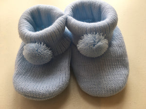 Baby Boy Fine Knit PomPom Bootees (gift boxed)