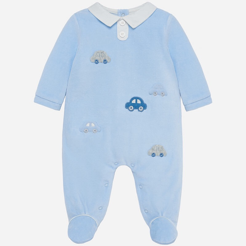 Baby Boys Soft Velvety Romper with Embroidered Cars, Contrasting Shirt Style Collar with Button Detail Front
