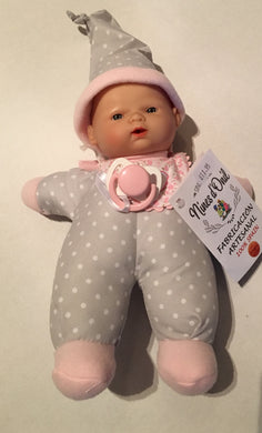 NINES 26cm Soft Full Bodied Spanish Doll in Grey Spotted Fabric with Pink Trim, Matching Hat, Contrasting Bib and Dummy Grey