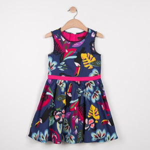 Girls Sleeveless Dress Pelican Tropical Print