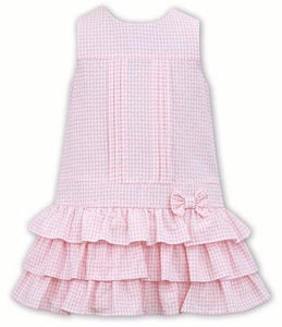 Gorgeous Layered Drop Waist Gingham Sleeveless Dress with Fabric Bow on Waistline