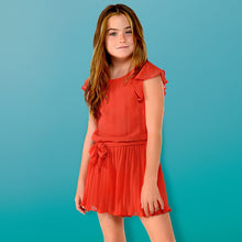 Girls Stud Detailed Short Sleeved Playsuit with Elasticated Waist with Belt and Soft Flowing Pleated Shorts in Chiffon.