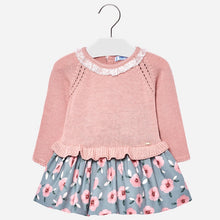 Girls Combination Dress, Fine Knit Long Sleeves Top with Peplum Waist and Lace Collar and Soft Sheen Floral Print Skirt