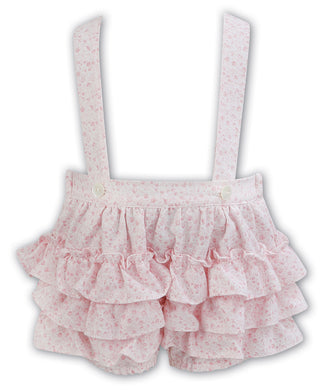 Baby Girls Delicate Floral Ruffle Detail on Front and Back of Shorts with Straps