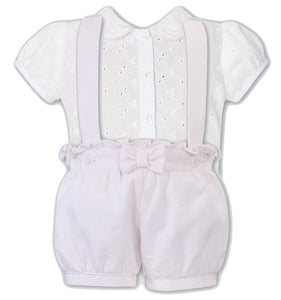 Girls 2 Piece Set, Broderie Anglaise Short Sleeeved Blouse with Peter Pan Collar, Fine Stripped Shorts with Straps,Frill and Bow Detail.