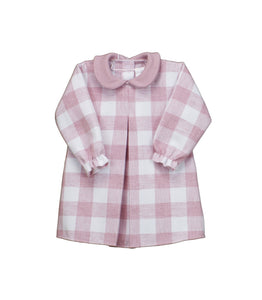 Girls Long Sleeved Checked Dress with Contrasting Peter Pan Collar and Full Front Pleat, in Super Soft Fabric
