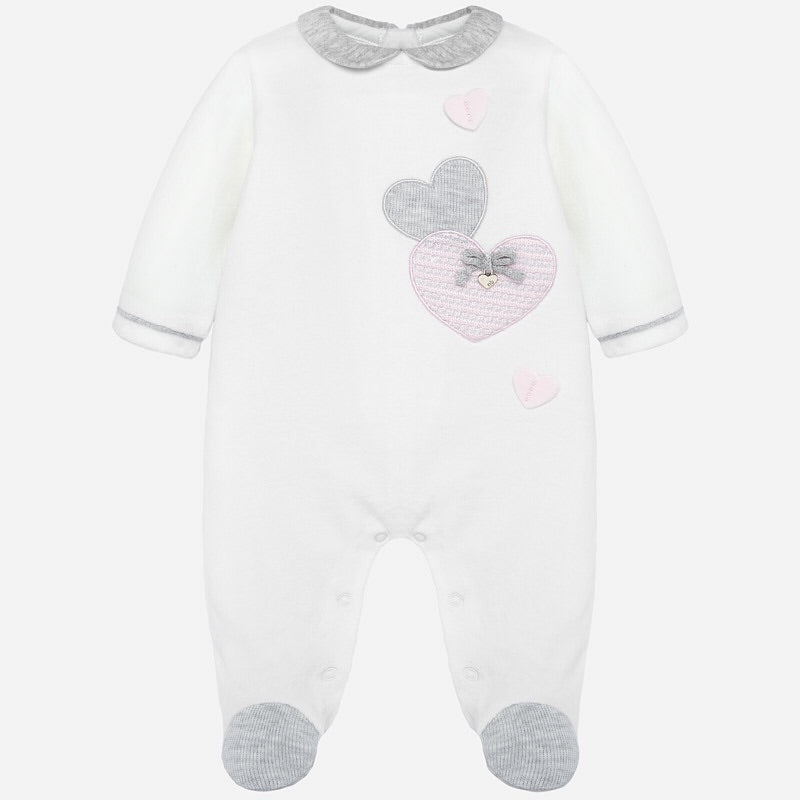 Beautiful Romper with Feet in Soft Velvety Fabric, Contrasting Round Collar, trim and Feet with Applique Hearts Detail