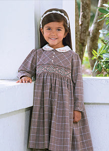 Girls Long Sleeved Traditional Hand Smocked Embroidery Dress, Contrasting Embroidered Peter Pan Collar. Front Button Detail.