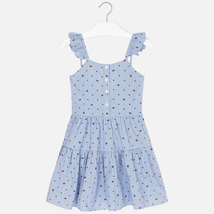 Girls Striped with Stars Dress in Poplin Fabric Fitted to Waist with Tiered Skirt. Button Front Fastening with Bow Detail