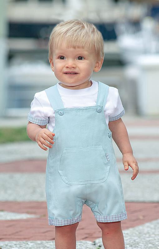 Boys Dungarees and T-Shirt Set with Contrasting Fabric Detail on Sleeves and Dungarees Front Pocket and Turn ups.