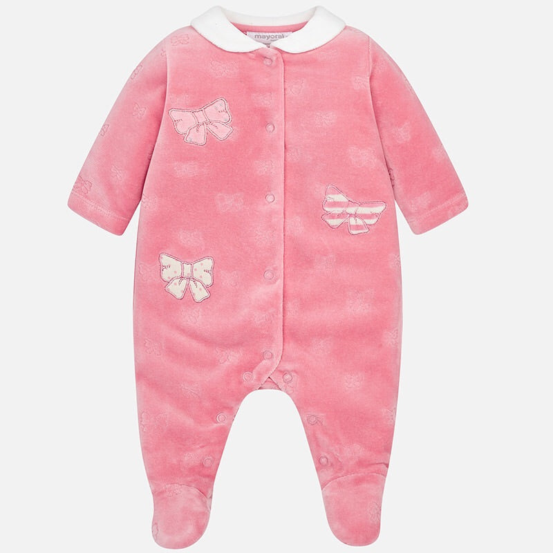 Baby Girls Supersoft Velour Bow Detailed Onesie