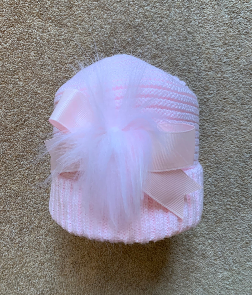 Girls Knit Cotton Lined Hats with Bow and Fur Pom Detail