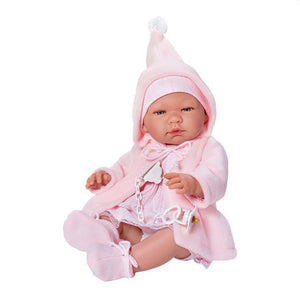 Beautiful Spanish Baby Girl Doll, Clothed in a Pink Knitted Dress, Hooded Cardigan with Knitted Hat, Bootees and Soother. Boxed