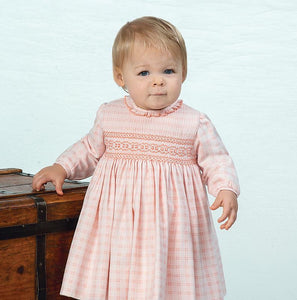 Girls Long Sleeved Dress in a Delicate Checked Fabric, Traditional Hand Smocked Embroidered Detail, Round Detailed Neckline