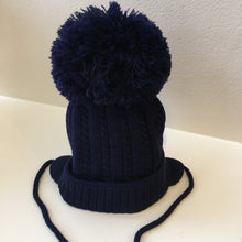 Large Pom Cable Detailed Knitted Hat with Ear Protectors and Under Chin Ties