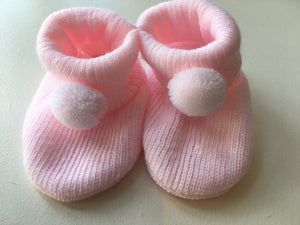 Baby Girls Fine Knit PomPom Bootees (gift boxed)