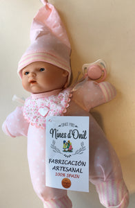 NINES 26cm Soft Full Bodied Spanish Doll in Pink Spotted Fabric with Striped Trim, Matching Hat, Contrasting Bib and Dummy