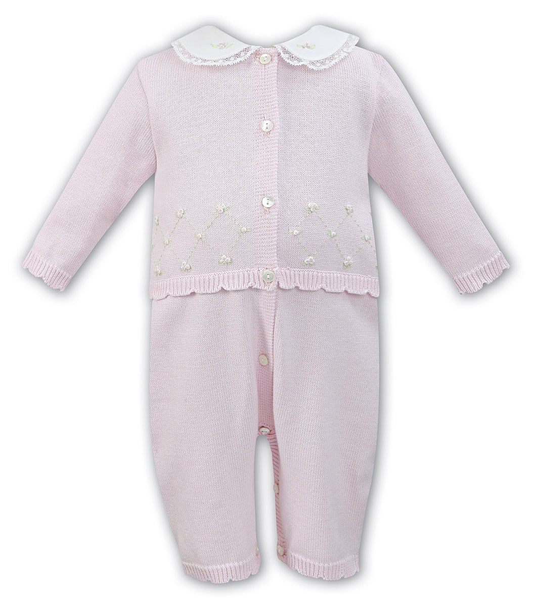 Baby Girls Knitted 2 Piece Leggings /Top Set with Embroidered Detail, Delicate Cotton and Lace Peter Pan Collar