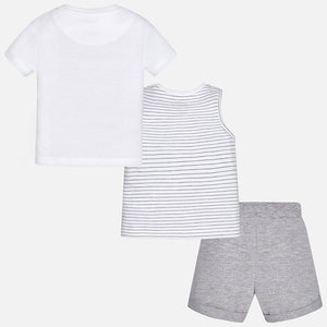Printed Vest, T-Shirt & Shorts Set
