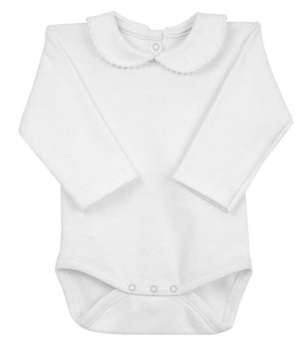 Baby Long Sleeved Body Vest with Peter Pan Collar with Trim. Super Soft Cotton in Gift Box