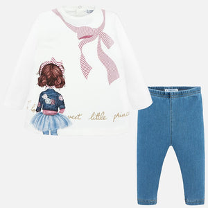Girls Leggings Set in Soft Cotton Long Sleeved Glitter Detailed Front with Light Soft Denim Coloured Leggings