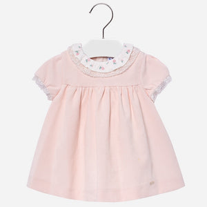 Baby Girls Delicate Lace and Embroided Detailed Fine Cord Dress