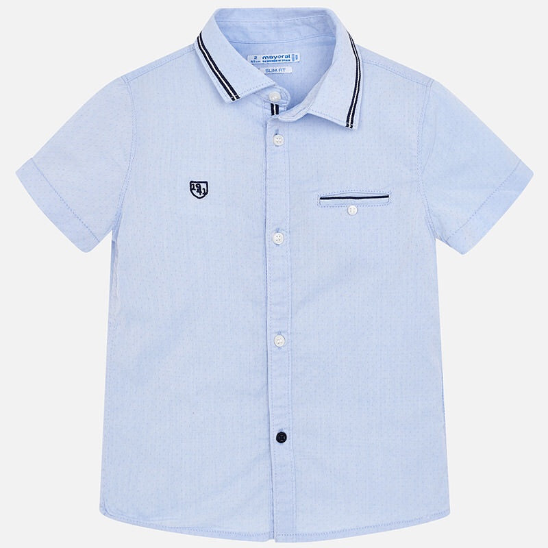 Boys Short Sleeved Shirt with Stripe Detail on Collar and Breast Pocket