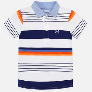 Boys Short Sleeved Striped Polo Shirt with Contrasting Chambray Collar