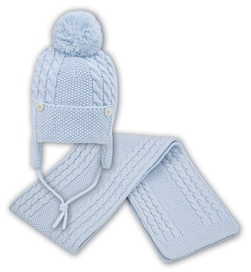 Baby Boys Cabled Knitted Hat and Scarf Set