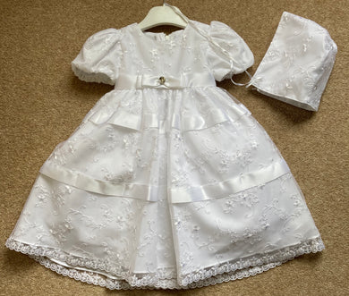Baby Girls Christening Embroided Dress and Bonnet