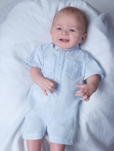 Baby Boys Fine Stripped Short Sleeved Romper with Button Down Collar, Breast Pockets and Button Down Front