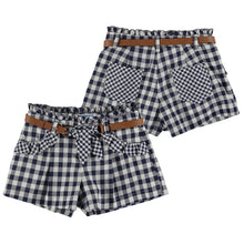 Girls Embroided Collar T-Shirt With Checked Shorts & Belt