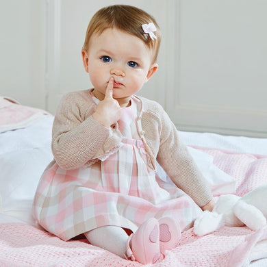 Baby Girls Delicate Plaid Short Sleeved Dress