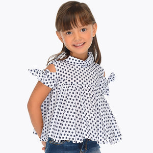 Girls Polkadot Off the Shoulder Blouse with Bow Detail on Open Sleeve, Shirt Collar, Fitted to the Chest with Loose Bodice