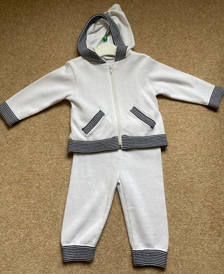 Boys Fine Knit Hooded Cardigan and Matching Bottoms, Full Striped Trim Detail with Front Pockets