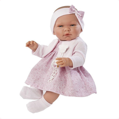 Beautiful Baby Girl Doll, Clothed in a Pink Floral Dress, Socks, Cardigan with soother and clip attached and Contrasting Headband. Boxed