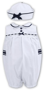 Baby Girl Sleeveless Sailor Style Romper and Hat, Lace Trim, Ribbon and Button Detail, Peter Pan Collar
